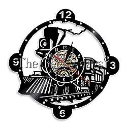 MUMUSO Steam Locomotive Train Wall Clock Vintage Steam Engine Vinyl Clock Train Locomotive Wall Decor Gifts-7 Color Lights