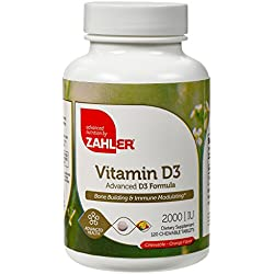 Zahler VITAMIN D3 CHEWABLE 2000IU, An All-Natural Supplement Targeting Vitamin D Deficiencies, Certified Kosher, 120 Great Tasting Orange flavored Tablets