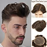 Rossy&Nancy Swiss Full Lace Men's Toupee European Real Human Hair Replacement for Men Hairpiece #4 Brown Color