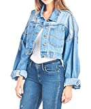 Tough Cookie's Women's Premium Vintage Washed Crop Denim Jacket (Small/Medium, Blue)