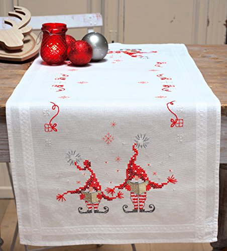 Vervaco Christmas Gnomes Table Runner Stamped Cross-Stitch Kit