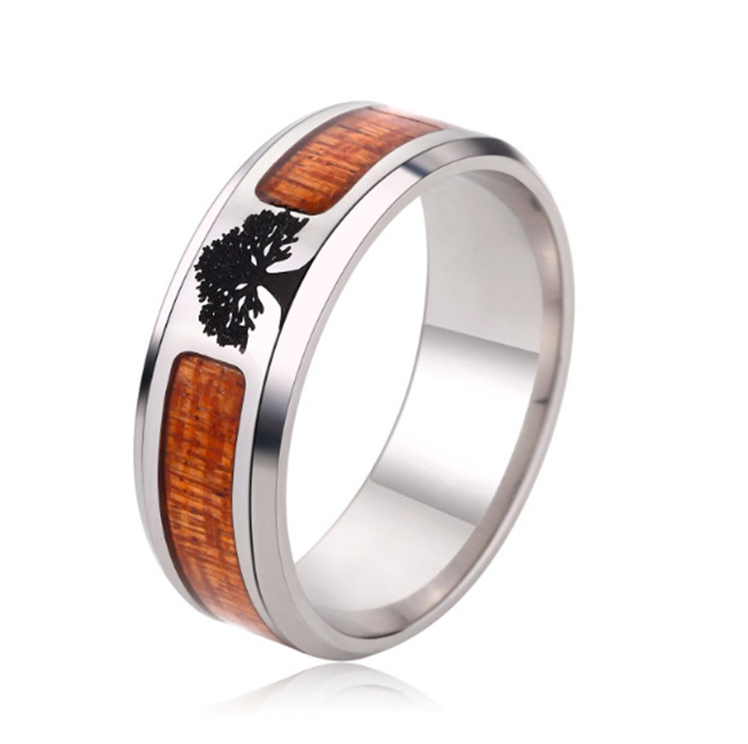 Ztuo Men Women 8MM Stainless Steel Band Tree of Life Pattern Ring Inlay Teak Wood Engagement Wedding 8