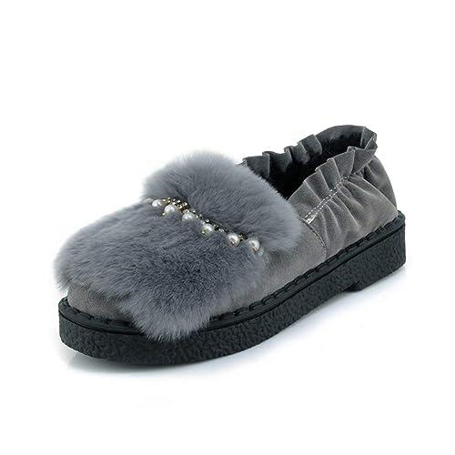 Mocasines De Las Mujeres De Ocio De Invierno De La Cadena del Zapato del Grano Corto De Felpa Rhinestone Cabeza Redonda Slip On Casual Zapatos De Volantes: ...