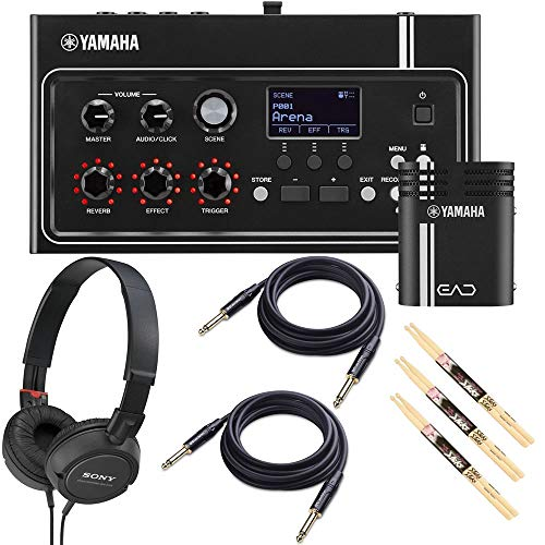 (Yamaha EAD10 Electronic Acoustic Drum Module Bundled with 1 x Samson Open Ear Stereo Headphones, 2 x 10ft Instrument Cables and 3 x Pairs of Drumsticks)