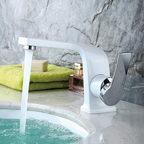 Derpras Bathroom Sink Faucet Unique Design Single Hole Single Handle Washroom Hot/Cold Basin Mixer Faucet, White Paint with Chrome (Basin White Single Hole)