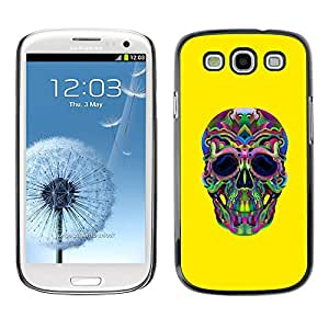Be-Star Único Patrón Plástico Duro Fundas Cover Cubre Hard Case Cover Para SAMSUNG Galaxy S3 III / i9300 / i747 ( Hippie Lsd Weed Yellow Skull Deep )