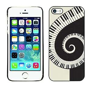 Paccase / SLIM PC / Aliminium Casa Carcasa Funda Case Cover - Music Spiral Piano - Apple Iphone 5 / 5S