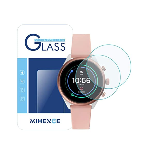 [ 2Pack ] Mihence for Fossil Gen 4 Sport (41mm) Smartwatch Tempered Glass Screen Protector, 2.5D Rounded Edges 9H Premium Real Screen Protector for ...