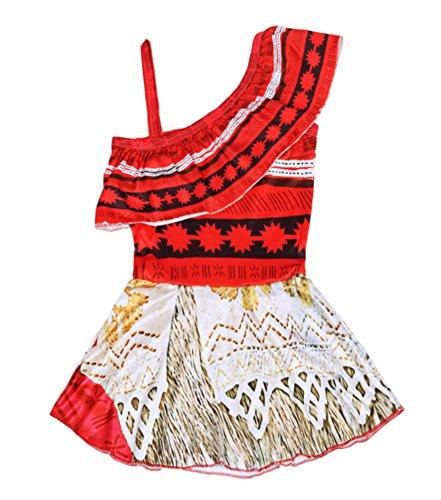 KABETY Baby Girls Princess Moana Swimsuit Two Piece Off Shoulder Bikini Set (Red 0226, 120/4-5Y)