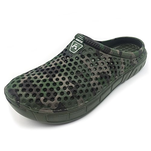 Amoji Garden Clogs Shoes House Slippers Sandals Room Shoe Indoor Outdoor Shower Shoes Camouflage Printed Sport Quick Dry Home Summer Breathable Women Men Ladies Green 6-7US Women/4-4.5US Men ()