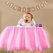 "AerWo ""IT'S A GIRL"" Paper Garland Bunting Banner + High Chair Tutu Table Skirt Chair Skirt, Christening Baby Shower Garland Decoration Birthday Party Favors Pink White Baby 1st Birthday Decorations"