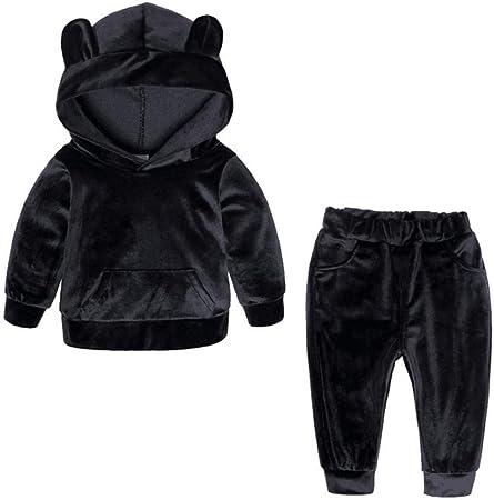 pryitponm8 Conjunto Deportivo niña/niño Ropa suéter Lana niños Sudadera con Capucha Chaqueta bebé Casual algodón Abrigo niños Camisa de Manga Larga -110_ Oreja Negra_: Amazon.es: Hogar