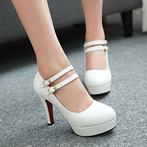 YE Damen Ankle Strap High Heels Stiletto Plateau Pumps mit Schnallen und 11cm Absatz Elegant Party Schuhe Weiß