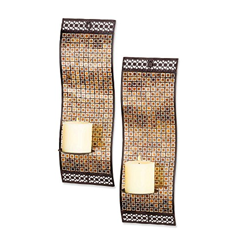 (Kingsway Rich Mixed Metallic Mosaic Waved Wall Sconces (Set of 2))