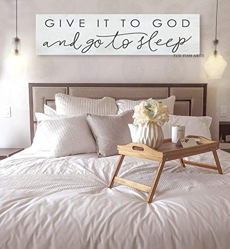 CELYCASY Give It to God and Go to Sleep, Canvas Sign, Farmhouse Decor, Inspirational, Affirmation Wall Art, Canvas Print, Bedroom Wall, Custom Colors