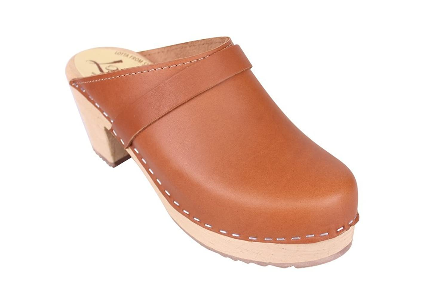 Lotta From Stockholm Classic High Heel Clog in Tan