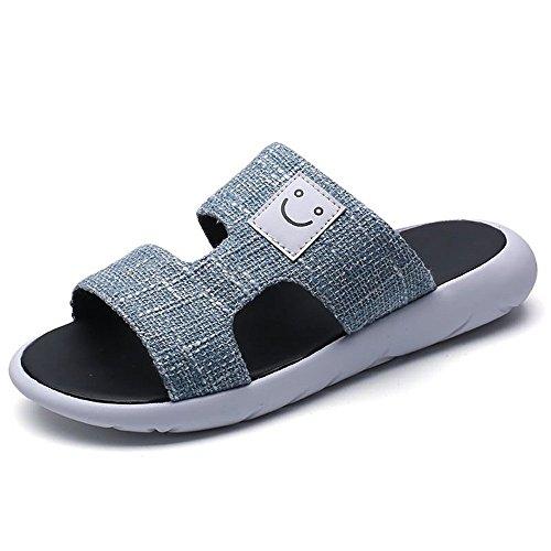 in da Pantofole resistente antiscivolo suola Calzature Dark da Sandali con 2018 Camminare Uomo sandali Decorati Gray l'estate autentici tela spiaggia Per Viaggiare suola uomo fibbia da Canvas Spiaggia Yt5qR
