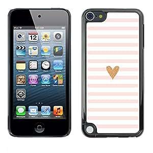 FECELL CITY // Duro Aluminio Pegatina PC Caso decorativo Funda Carcasa de Protección para Apple iPod Touch 5 // Heart Pink White Love Minimalist Lines