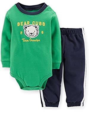Boy 2-piece Bodysuit & Pant Set - Team Grandpa (Newborn; Green)