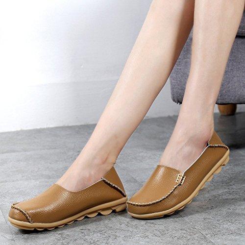 Lucksender Dames Leren Drijfschoenen Loafers Bootschoenen Kaki
