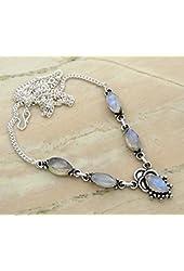 Genuine Rainbow Moonstone & .925 Sterling Silver Overlay Handmade Necklace Jewelry