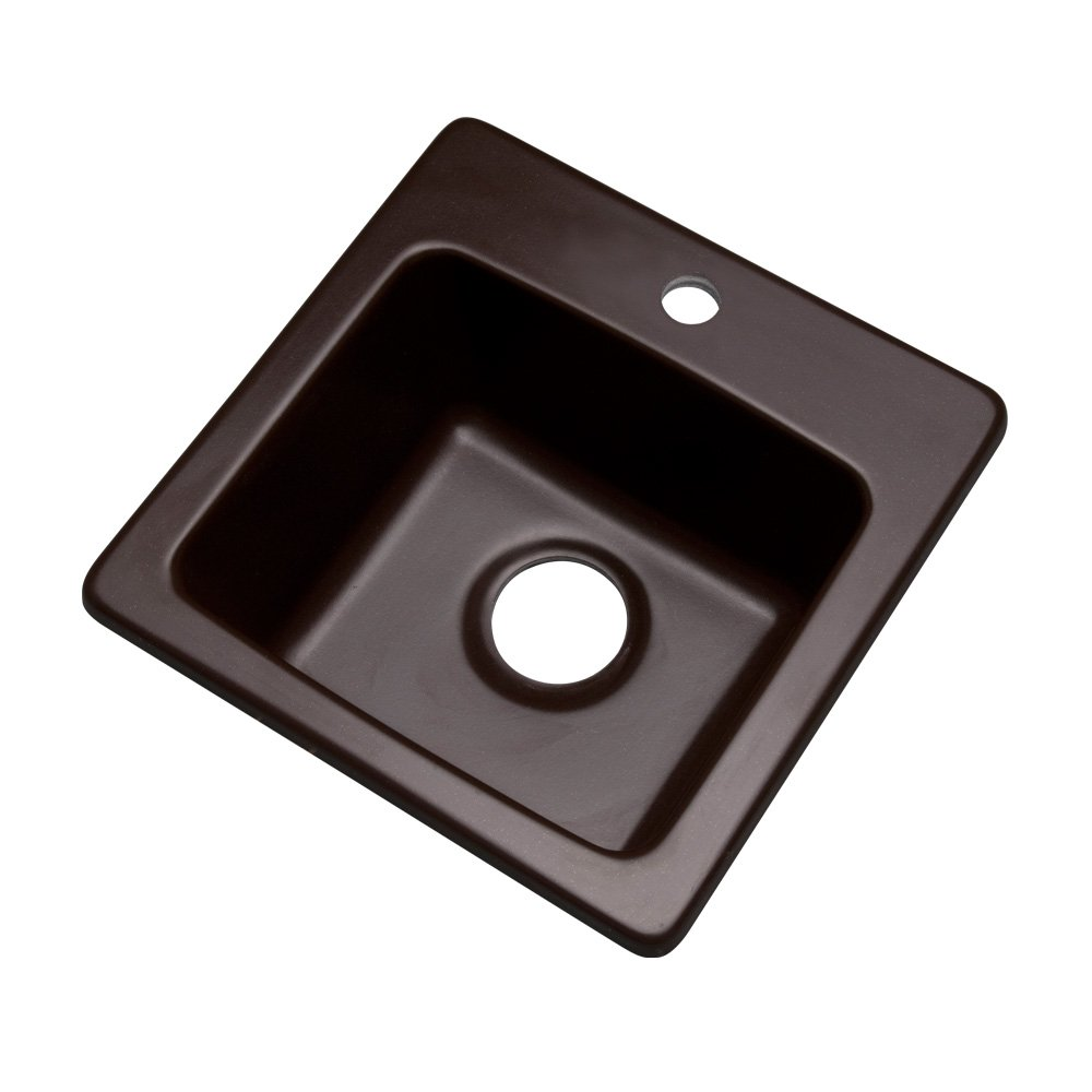 Dekor Sinks 27190Q Duxbury Composite Granite Prep Sink with One Hole, 16'', Espresso