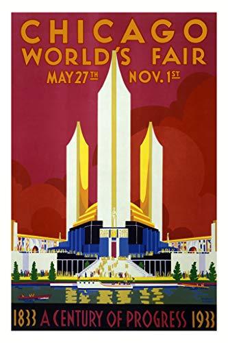 Chicago Worlds Fair 1933 Retro Travel Poster 12x18 Inch