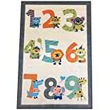 Silk & Sultans Agathe Collection Kids Numbers Design, Pet Friendly, Non-Slip Area Rug with Rubber Backing,3'x5'Ivory