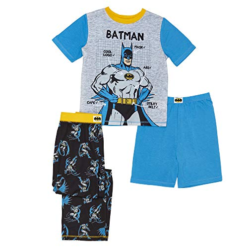 DC Comics Boys' Big 3 Piece Jersey Pajama Set, Grey Batman, Small