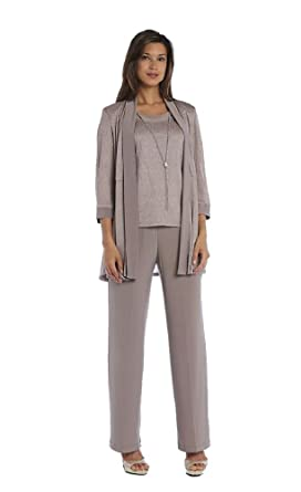 a05cdc16162 R M Richards Mother of The Bride Metallic Three Piece Pantsuit at Amazon  Women s Clothing store