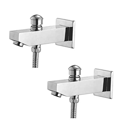 Oleanna Global Brass Bath Spout With Tip-Ton And Wall Flange With Provision For Hand Shower Bath Tub Spout Chrome - Pack Of 2 Nos