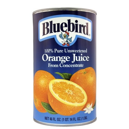 Fresh Squeezed Orange Juice - Bluebird  Unsweetened Orange Juice, 46-Ounce Cans (Pack of 12)