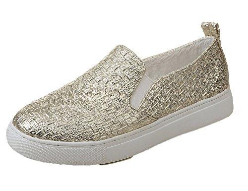 AllhqFashion Damen Gesteppt Mikrofaser Ohne Absatz Ziehen auf Rund Zehe Pumps Schuhe Golden