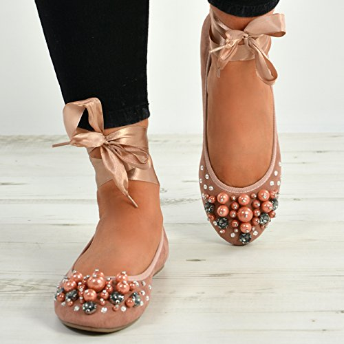 Ankle Sizes Shoes Studded Womens Flats Diamante New Pink Fashion Ladies Cucu Pearl Wrap Ballerina 7wqtfB