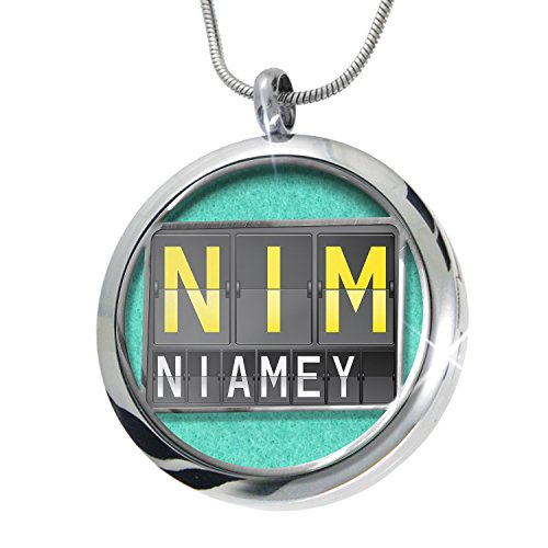 NEONBLOND NIM Airport Code for Niamey Aromatherapy Essential Oil Diffuser Necklace Locket Pendant Jewelry Set