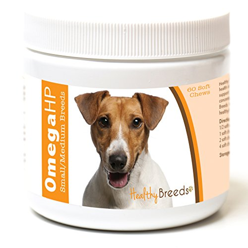 Healthy Breeds Dog OmegaHP Fish Oil Tasty Chews for Jack Russell Terrier - OVER 100 BREEDS - EPA & DHA Fatty Acids - Small & Medium Breed Formula - 60 Count