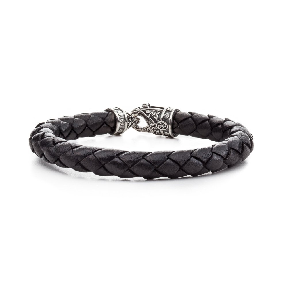 Scott Kay 8MM Black Woven Leather Bracelet with Sterling Riveted Clasp