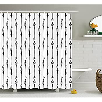 Arrow Shower Curtain By Ambesonne Hand Drawn Linked Endless Arrows Pattern Vintage Tribal Icons Illustration
