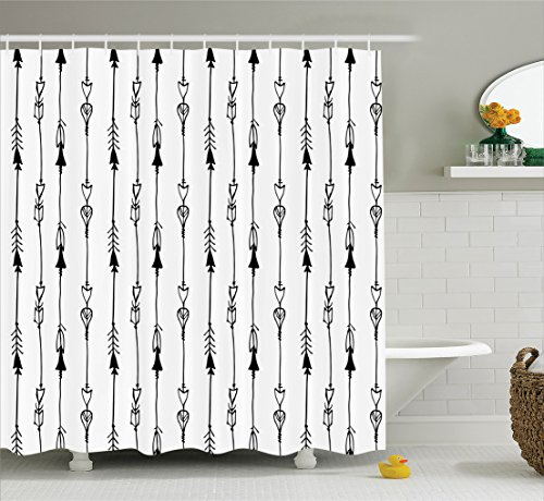 Ambesonne Arrow Shower Curtain, Hand Drawn Linked Endless Ar