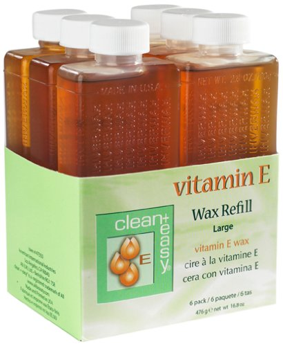 Clean & Easy Wax Refill 6-pack Large Vitamin E, Net Wt. 16.8 oz Easy Waxing Spa