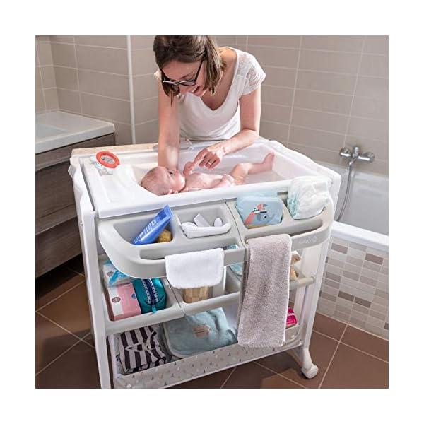 Safety 1st Dolphy Fasciatoio con vaschetta per bagnetto neonato, con materassino imbottito incluso, colore warm gray 5