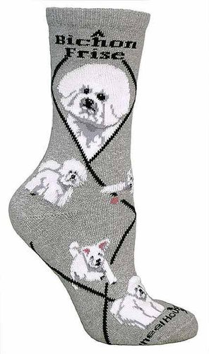 Stocking Bichon Christmas (BichAnimal Socks On Animal Socks On Gray 9-11)