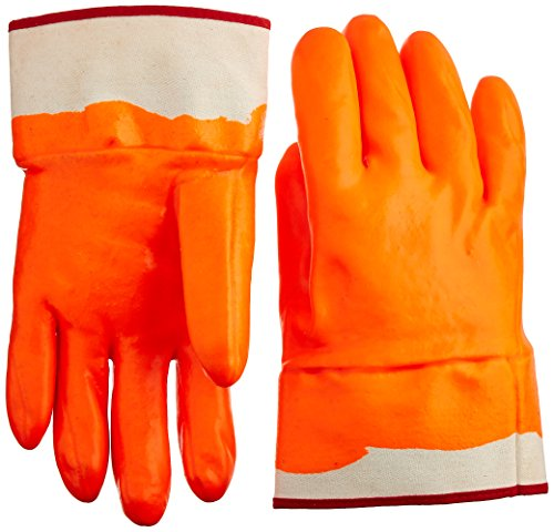 MCR Safety 6710FS Economy Single Dipped PVC Foam-Lined Men's Gloves with Rubberized Safety Cuffs, Orange/White, Large, 1-Pair
