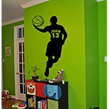 fan products of Basketball Personalized Decal Name Customized Name Sticker Boys Room Nursery Idea Kids Decor Wall Decal Art Vinyl Sticker Tr300