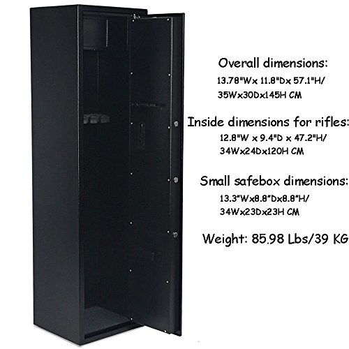 Review FCH Electronic 5 Rifle Gun Safe Large Firearms Shotgun Storage Cabinet with Small Lock Box