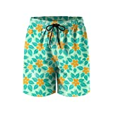 Elxie06 Tropical Pattern Orange Mens Quick Dry Classic Fit Beach Shorts with Drawstring