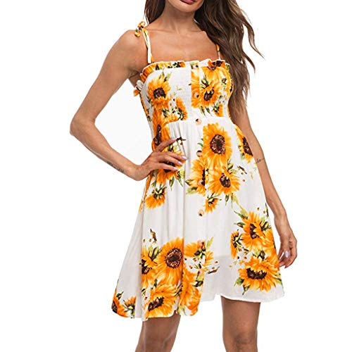 (Sunhusing Women's Summer Sunflower Print Strapless Strap Lace-Up Halter Buttons Pleated Tube Top Mini Dress White)