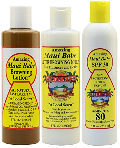 Maui Babe Variety Beach Pack (Browning Lotion 8 oz, After Browning Lotion 8 oz, and SPF 30 Sunblock 8 oz)