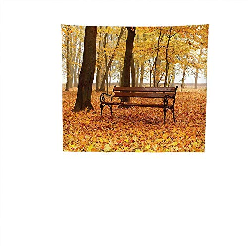 Apestry Home Decor (63W x 63L Inch) Wall Hanging Bedroom Living Room DormFarm House Decor Rustic Bench in Golden Pale Autumn Park in Mist Day November Love Fall Season Photo Orange Brown. ()