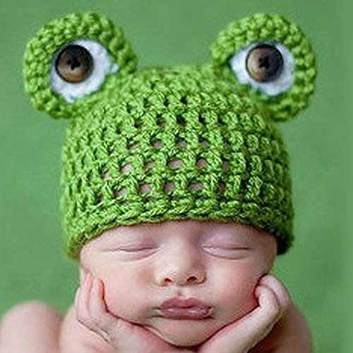 MuLuo Cute Frog Newborn Crochet Outfits Warm Set Cap Boy Cap Girl Hat Baby Cap Baby Hat For Infant Newborn Photography Prop